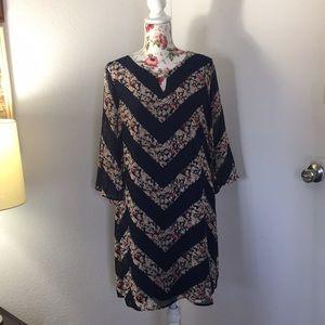 Tacera  chevron floral print dress